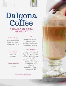 Dalgona Coffee_bahan dan cara