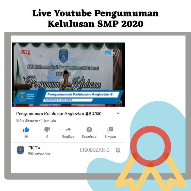 Pengumuman kelulusan live youtube